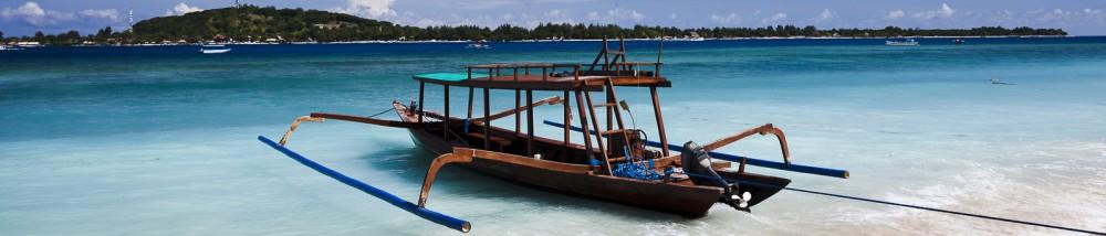 Boat moored off Mahamaya resort, Gili Meno, Indonesia (June 2013