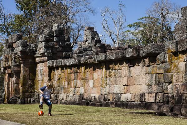 Liam playing football at Phanom Rung Historical park, Khymer rui