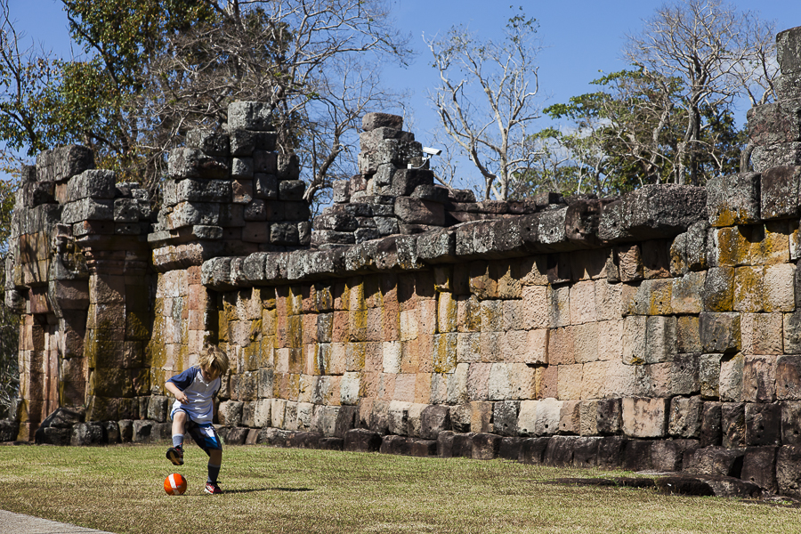 Liam playing football at Phanom Rung Historical park, Khymer rui