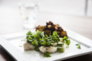 Blue cod with coriander and lime