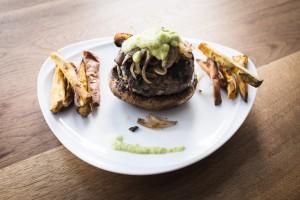 Lebanese burgers with portobello bun