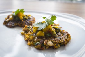 sweet potato cakes with mango passionfruit salsa