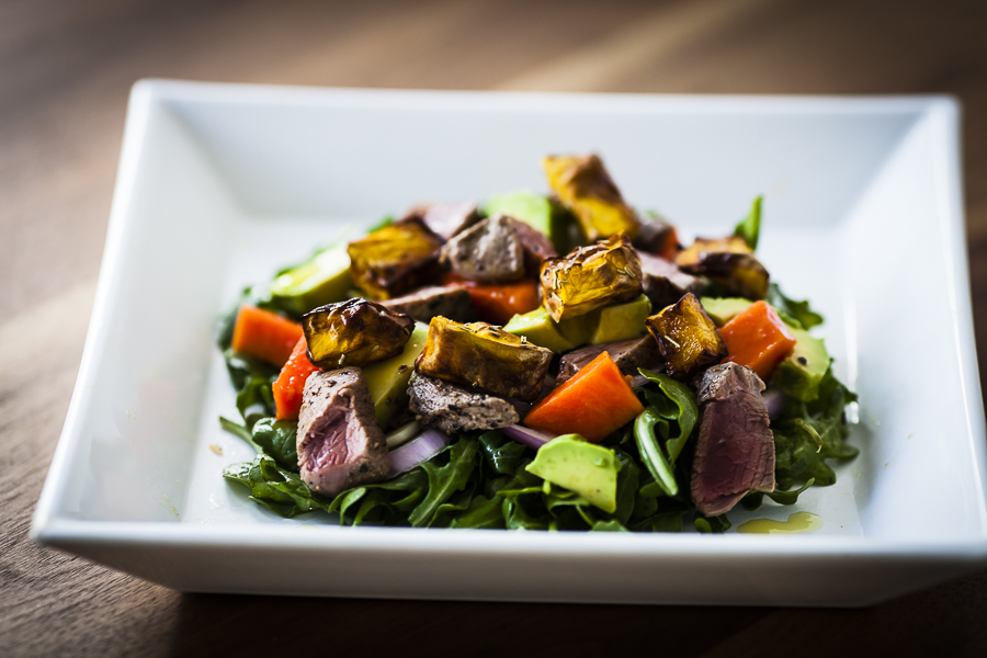 Lamb salad papaya pumpkin avocado paleo