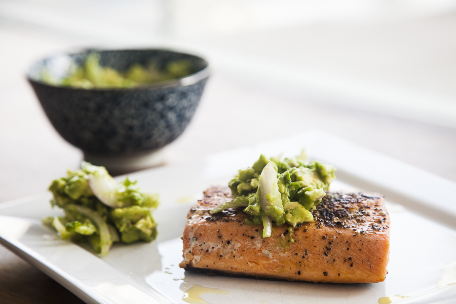 Grilled Salmon with Avocado Tahini Dip