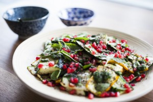 Courgette, pomegranate and pine nut salad