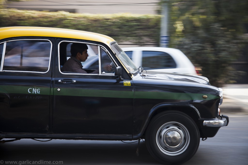 Taxi driving through Vasant Vihar, New Delhi, India (February 20