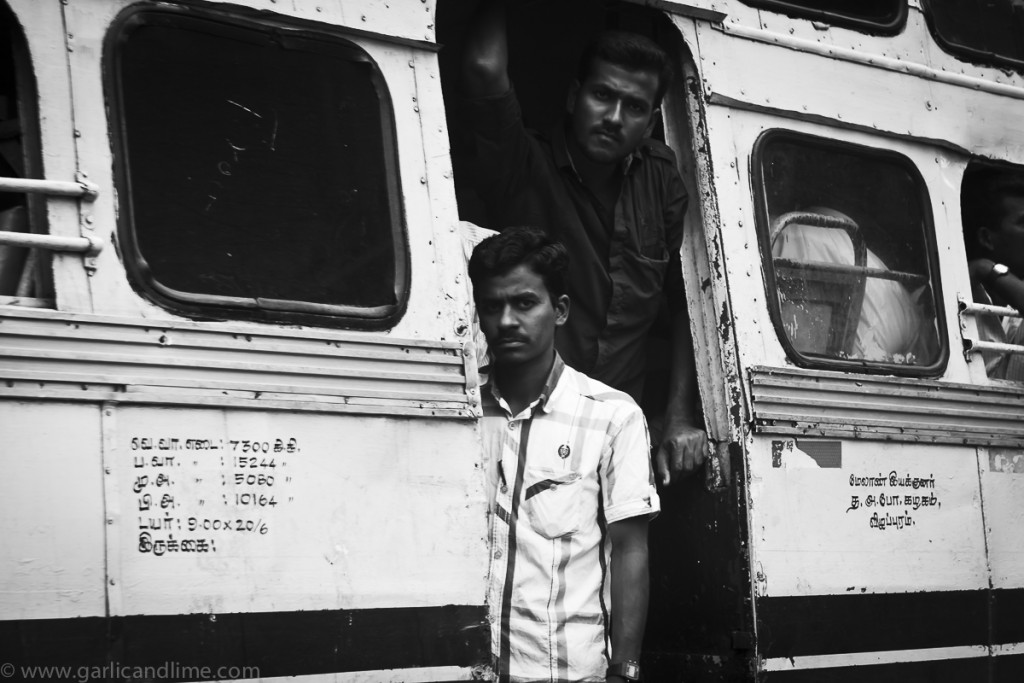 Two men on a bus, Nataraj temple, Chidambaram, Tamil Nadu, India