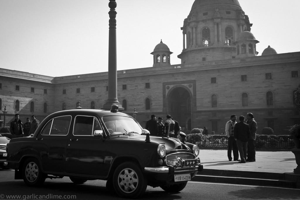 Ambassador car on Raisina Hill, New Delhi, India (January 2013)