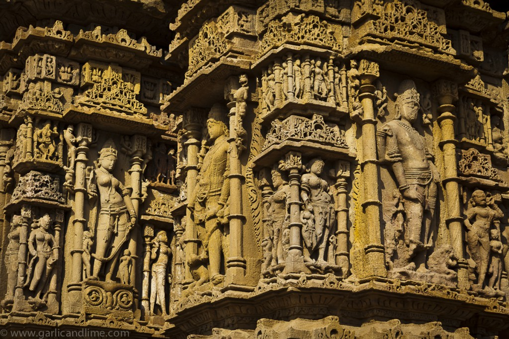 Detailed carvings adorn the Modhera Sun Temple, Gujarat, India (