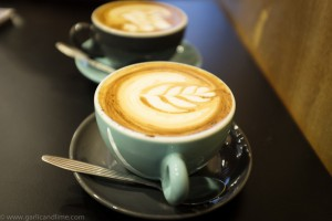 cappucinos with latte art