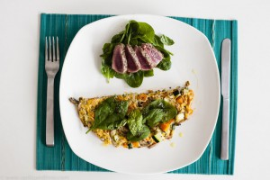 Pumpkin Zucchini Omelette with Lamb and Spinach