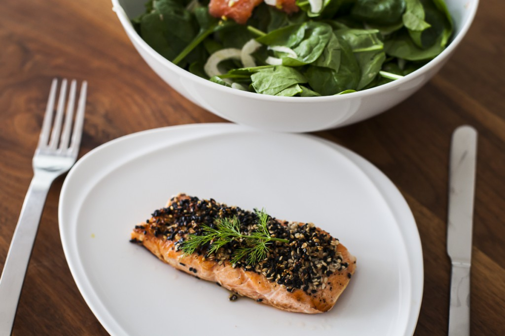 Salmon with black and white sesame seeds
