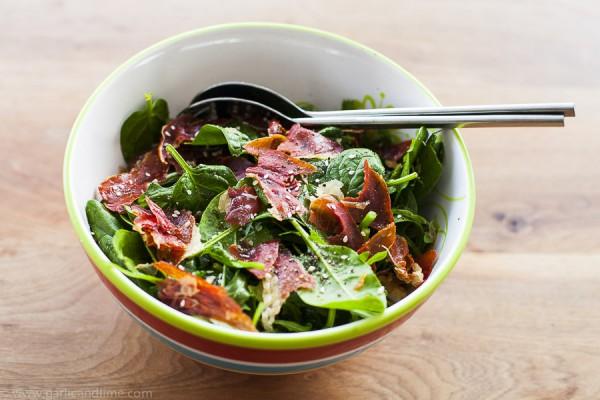 Rucola, spinach, asparagus salad